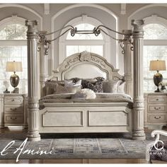 Monte Carlo II Silver Pearl Poster Canopy Bedroom Set Poster Bed   this is  the bed I have wanted for years  One day I m gonna be sleeping in it Four Poster Bed     Pinteres . Four Poster Bedroom Sets. Home Design Ideas