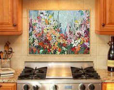 5ft grand jardin mosaïque murale art  réalisé sur