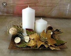 Outside Christmas Decorations, Christmas Window Display, Christmas Party Table, Christmas Candles, Christmas Floral Arrangements, Holiday Centerpieces, Simple Christmas, Christmas Diy, Deco Table Noel