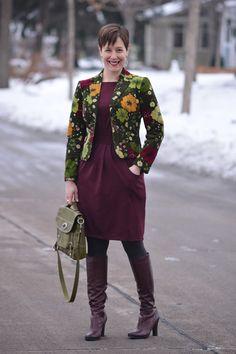 Already Pretty outfit featuring floral corduroy blazer, burgundy ponte dress, gray Falke tights, Sam Edelman Seraphina boots