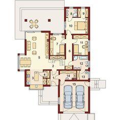 Rzut DA Keos 2 CE Malm, Modern House Design, Beautiful Homes, House Plans, Pergola, Floor Plans, Construction, How To Plan, Bungalows