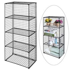 Freestanding 4 Tier Black Metal Wire Storage Shelf Unit / Collapsible Closet Utility Rack - MyGift® Home MyGift Wire Storage Shelves, Shop Storage, Metal Shelves, Closet Storage, Storage Cabinets, Storage Ideas, Metal Bins, Utility Closet, Declutter Your Home