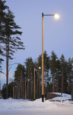Wooden Poles at Mikkeli Asuntomessut 2017 with Philips luminaire - Housing fair