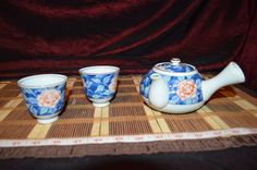 Asian Porcelain Floral Tea Set Teapot w/ Side Handle & Spout, 2 Cups Marked #Asian