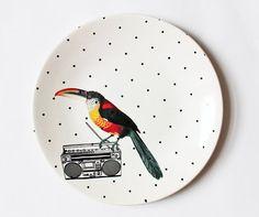 DJ Birdie plate by yvonneellen on Etsy, $40.00