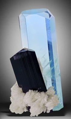<3 Aquamarine and Schorl on Clevelandite,