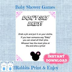 Minnie Mouse Don't Say Baby Baby Shower Game by 2RabbitsPrintEnjoy #minniemousebabyshower #dontsaybabygame #printablebabyshowergame #disneybabyshower