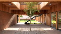IF_DO wrapped the sixth form centre in Surrey, England, around a courtyard and planted a tree in the centre to connect it too its woodland setting. Architecture Courtyard, Modern Courtyard, Courtyard House Plans, Plans Architecture, Courtyard Design, Architecture Collage, Concept Architecture, School Architecture, Interior Architecture