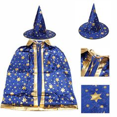 Childrens' Halloween Costume Wizard Witch Cloak Cape Robe and Hat for Boy Girl Sale - Banggood.com