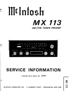 McIntosh MX-113 , Original Service Manual PDF format suitable for all Windows , Linux and DOWNLOAD