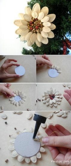Make pumpkin seed flowers Autumn Crafts, Nature Crafts, Holiday Crafts, Handmade Flowers, Diy Flowers, Paper Flowers, Pumpkin Seed Crafts, Pista Shell Crafts, Diy And Crafts