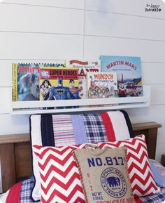Pottery Barn Kids inspired DIY book display ledges for only $5