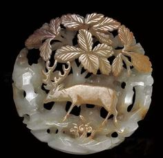 Jade plaque with a deer in mountain motif, Jin/Yuan Dynasty. Collection of China National Museum, Beijing