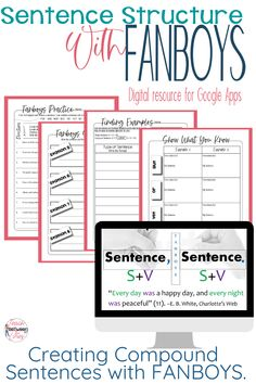 If you are teaching sentence structure in your ELA classroom, you will love this sentence structure with FANBOYS resource! It is perfect for helping your students with creating compound sentences. It includes digital and printable activities perfect for middle school or high school English or language arts students. This resource includes editable word documents and PDFs and can easily be used in Google classroom for distance education. Click here for more information! English Teaching Resources, Teaching English Grammar, Teaching Tips, Ela Classroom, Google Classroom, Classroom Ideas, Middle School Writing Prompts, Mentor Sentences, College Admission Essay
