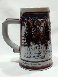 Budweiser Beer Steins | Vintage 1989 Budweiser Clydesdale Beer Mug Stein by DeAnnasAttic