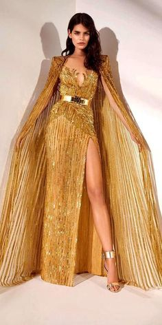 27 Colored Wedding Dresses To Make You A Stylish Bride ❤ colored wedding dresses sheath with cape sequins zuhair murad ❤ #weddingdresses #weddingoutfit #bridaloutfit #weddinggown Bridal Outfits, Bridal Gowns, Long Dress Design, Bridesmaid Dresses, Prom Dresses, Formal Dresses, Golden Dress, Colored Wedding Dresses, Slit Dress