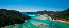Ariel view of Awaroa Inlet, Abel Tasman National Park New Zealand