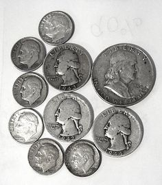 Item specifics     Circulated/Uncirculated:   Circulated   Composition:   Silver      junk silver @ 90%  — $1.85 F.V.    —-     LOW ON DIMES  *  mix to match $1.85  Price : $25.32  Ends on : 19 mins Order Now