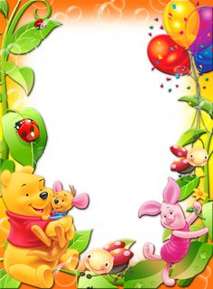 Winnie The Pooh with Balloons Kids Transparent PNG Photo Frame.