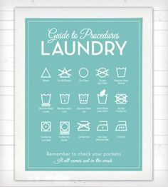 Laundry Symbols Poster - print - Guide To Procedures, Laundry ...