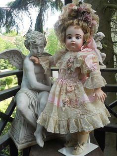 Beautiful french Summer dress with matching bonnet for grand size doll about ..... 29 - 30 ( 73-75 cm ) fit perfect for Jumeau , Steiner , Gaultier ,