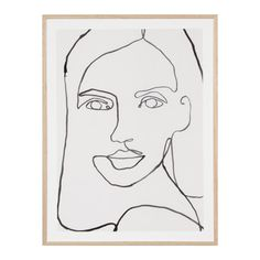 Striking, and surprisingly soothing. This illustrative print will draw your eye around the canvas, following the single line that makes up this stunning portrait. Perfect on its own or when grouped with the Contour Portrait range. Modern Artwork, Contemporary Art, Solid Oak Furniture, The Fragile, Frame Display, Draw Your, Art Reference Poses, Fashion Prints, Contour