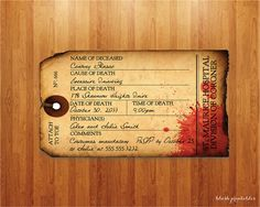 Antique Toe Tag  Morgue  Halloween Party by blushprintables, $12.00