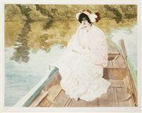 Louis Abel-Truchet, Élégante en capeline dans une barque, 1900