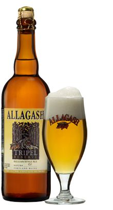 Allagash Tripel Ale - a strong, Belgian-style, golden ale, 9% ABV, with a touch of banana. Yummy!
