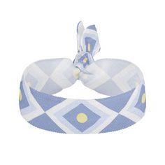 Ikat Geometric Pattern Blue Yellow Hair Tie - Nov 16