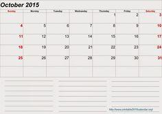12 Best Free Printable Calendar October 2015 Images Free