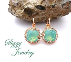 Pacific Opal Cushion Cut Halo Earrings Made With by SiggyJewelry