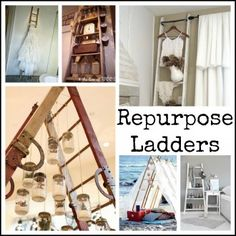 Recycle:  Ladder Love    Shows different ways to use ladders and with mason jars and candles.  http://makecreatedo.com/2012/08/29/recycle-ladder-love/