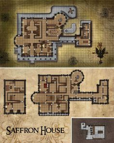 Saffron House Map for Pathfinder Fantasy City, Fantasy Map, Fantasy Places, Dungeons And Dragons, Pathfinder Maps, Nave Star Wars, Pen And Paper Games, Rpg Map, Building Map