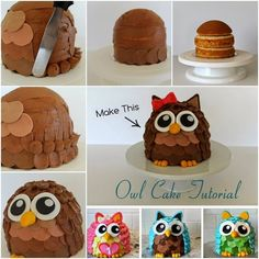 Here is a coolest Owl-shaped cake decorating idea. Owls are a popular choice when it comes to animal design cakes and owl cakes goes well with birthdays, anniversaries or other fun gatherings . Don't (Cake Recipes For Fondant) Fancy Cakes, Cute Cakes, Cake Decorating Tips, Cookie Decorating, Fondant Cakes, Cupcake Cakes, Fruit Cakes, Owl Cakes, Ladybug Cakes