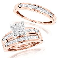 This Affordable 14K Gold Trio Diamond Ring Set consists of a women's pre-set diamond engagement ring and two matching diamond wedding bands (one for him and one for her). Showcasing a combination of invisibly-set princess cut diamonds and channel-set baguette diamonds totaling 1.60 ctw, this fabulous diamond bridal ring set features a highly polished gold finish, and is available in 14K white, yellow and rose gold.