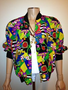 Vintage 1990s BAROQUE colorful ABSTRACT print silk bomber coat jacket nu wave hip hop size Large. 87.00, via Etsy.