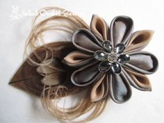 Peacock Feather Wedding Hair Clip Champagne, SAND, Taupe, Platinum Kanzashi Hair Clip Fascinator, GATSBY Art Deco Maid of Honor, Bridesmaid on Etsy, $60.00