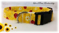 Ladybugs and Daisies Adjustable Dog Collar by Luv4PawsEmbroidery on Etsy
