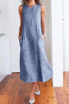 Are you looking for a summer Round Neck Striped Cotton Midi Dress? Good design at cheap price in fashion styles. You can wear this for casual meetings, work even night date. Summer Holiday Dresses, Summer Dresses For Women, Striped Maxi Dresses, Cotton Dresses, Sleeveless Dresses, Floral Dresses, Fall Dresses, Loose Dresses, Shift Dresses