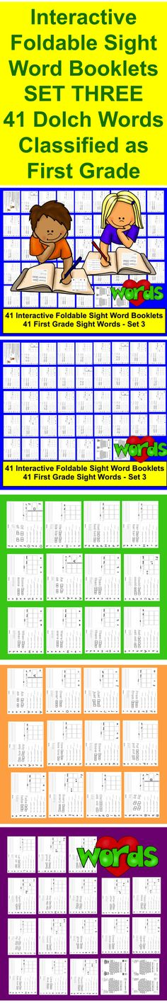 "$ Sight Word Booklets Interactive Foldable Booklets – SET THREE - Print and Go! (Landscape)  ★ Save Ink – Black and White! ★ 41 Dolch Sight Words Classified as the First Grade Words (Pre-Primer and Primer sets available,too!) Just fold twice, and each sheet becomes a 4-page booklet: rainbow words, cut out the letter squares along the edge to glue onto the ""Cut and Glue"" page, trace, tell the number of letters, vowels, consonants, syllables, and sounds, and compose and illustrate a sentence."