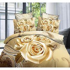 vier stuk 3d gele rozen print dekbed set - EUR € 33.93