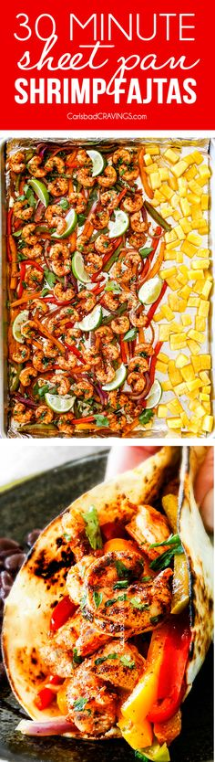 30 MINUTE Sheet Pan Shrimp Fajitas (and optional caramelized pineapple!) spiced rubbed and oven roasted to perfection for healthy flavor bursting dinner all made in one pan! Make a shrimp fajita bar salad quesadillas bowls etc. Fish Recipes, Seafood Recipes, Mexican Food Recipes, Cooking Recipes, Mexican Dishes, Shrimp Fajita Recipe, Shrimp Fajitas, Healthy Meal Prep, Kitchen