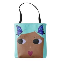 Butterflies in Her Teal Hair Doll Face Tote - accessories accessory gift idea stylish unique custom