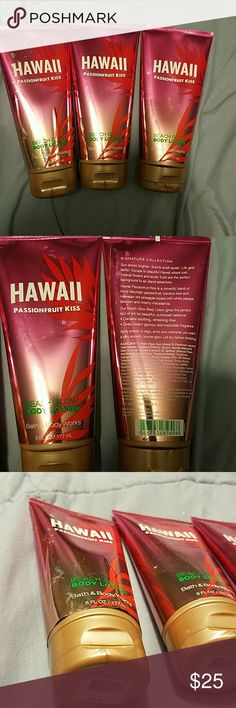 Bath & Body Works Beach Glow lotion Hawaii Passionfruit Kiss Beach Glow body  lotion gives you a gorgeous yet subtle sunkissed look! One bottle has a little lifting of the label due to where it was under my sink, but all are never used! Price is for all 3!! Bath & Body Works Makeup
