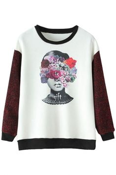 White Floral Paneled Long-Sleeves SweatshirtOASAP Giveaway, 10 pieces per day, till the end of 2014! Easiest way to get free clothing!