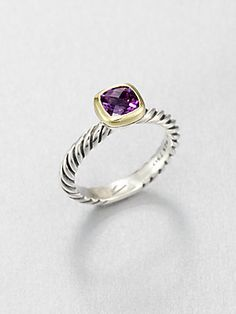 David Yurman Amethyst, 18K Gold & Sterling Silver Ring