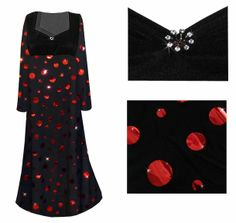 7701d475b295d Black with Red Metallic Circles Empire Waist Plus Size Dress With  Rhinestone Detail Lg