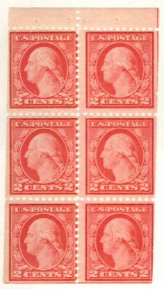 1917 Washington, rose, booklet pane of Sell Stamps, Rare Stamps, George Washington, Stamp Collecting, Postage Stamps, Booklet, Plate, Rose, Souvenir