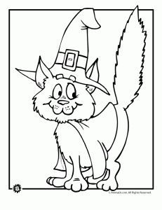 Halloween Witch Cat Coloring Page